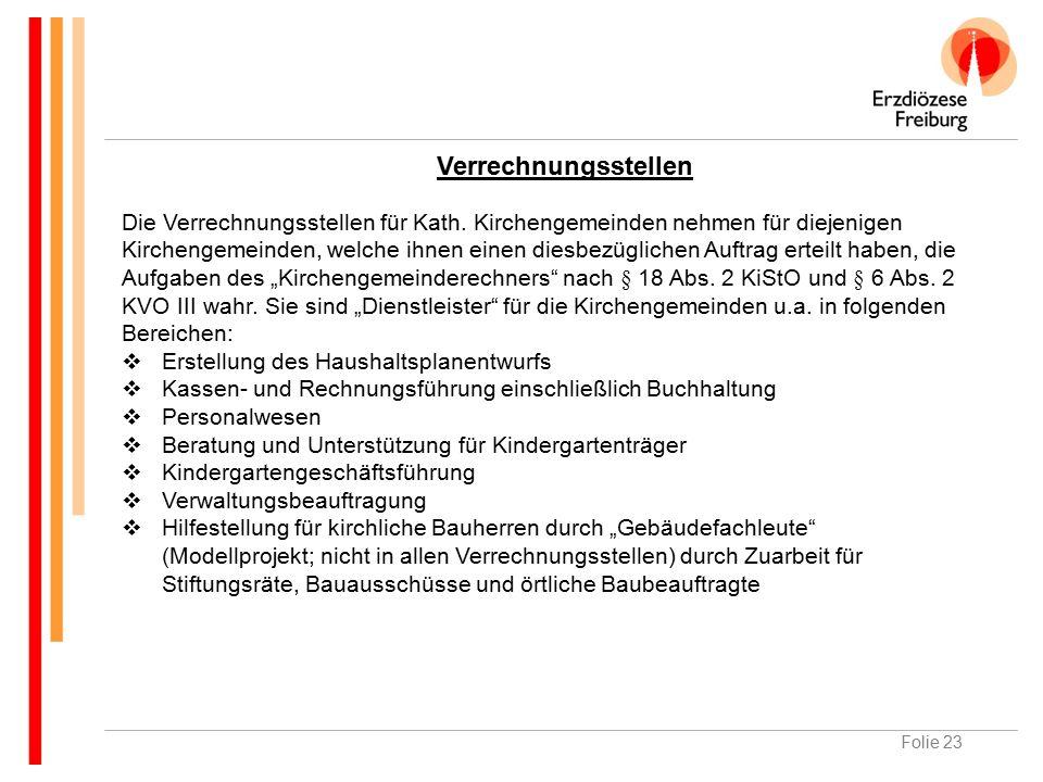 Folie 23 Verrechnungsstellen Die Verrechnungsstellen für Kath.