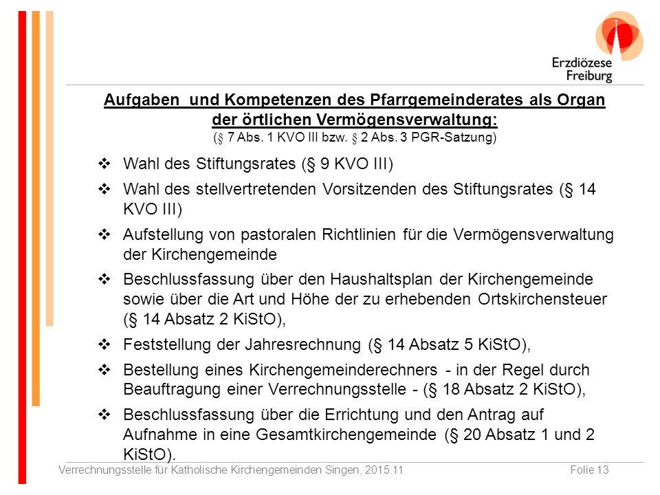 Verrechnungsstelle für Katholische Kirchengemeinden Singen, 2015.11Folie 13 Aufgaben und Kompetenzen des Pfarrgemeinderates als Organ der örtlichen Vermögensverwaltung: (§ 7 Abs.