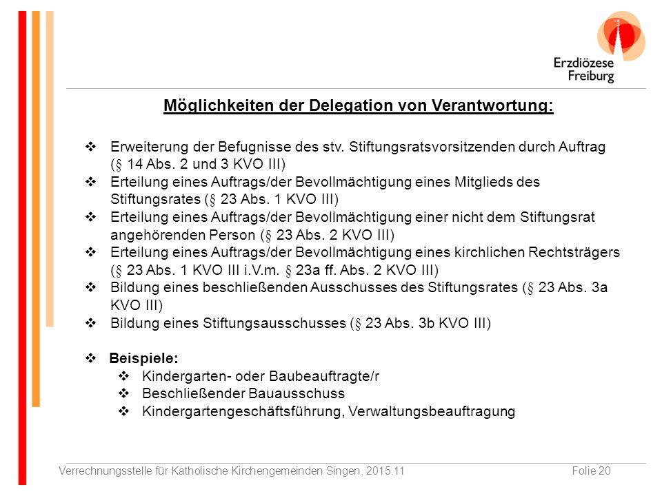 Verrechnungsstelle für Katholische Kirchengemeinden Singen, 2015.11Folie 20  Erweiterung der Befugnisse des stv.
