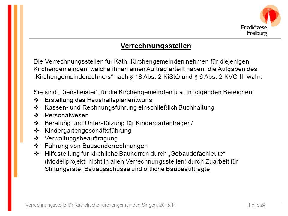 Verrechnungsstelle für Katholische Kirchengemeinden Singen, 2015.11Folie 24 Verrechnungsstellen Die Verrechnungsstellen für Kath.