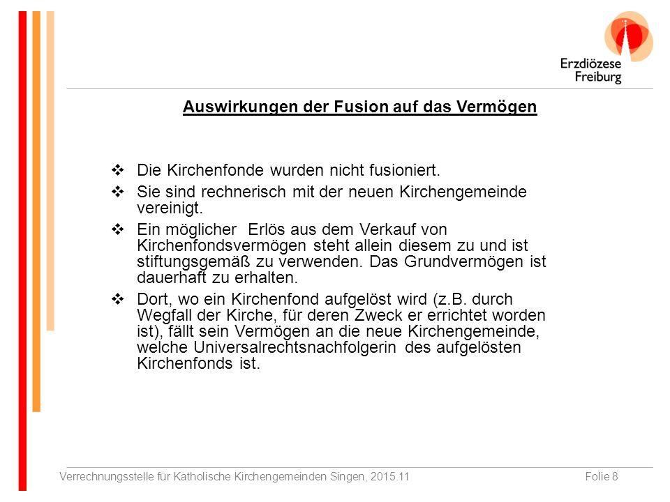 Verrechnungsstelle für Katholische Kirchengemeinden Singen, 2015.11Folie 8  Die Kirchenfonde wurden nicht fusioniert.
