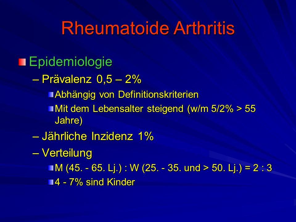 Rheumatoide Arthritis Sonderformen –Seronegative RA Innerhalb von 3 Jahren 3malig negativer Rheumafaktor –Bessere Prognose –Atypischer Beginn –Nicht immer symmetrischer Gelenkbefall –Alters-RA (LORA, Late- oder Elderly-Onset-RA) Beginn nach dem 60.