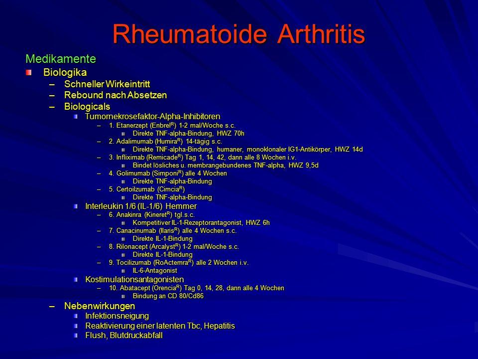 Rheumatoide Arthritis MedikamenteBiologika –Schneller Wirkeintritt –Rebound nach Absetzen –Biologicals Tumornekrosefaktor-Alpha-Inhibitoren –1.