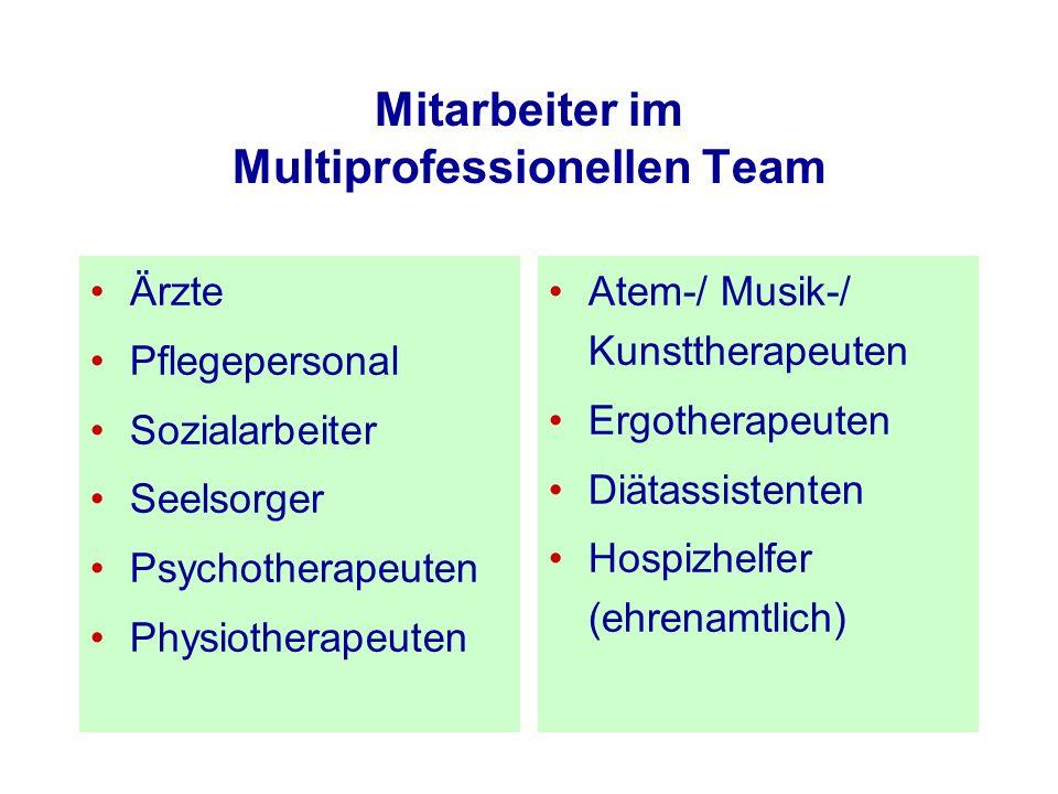 Mitarbeiter im Multiprofessionellen Team Ärzte Pflegepersonal Sozialarbeiter Seelsorger Psychotherapeuten Physiotherapeuten Atem-/ Musik-/ Kunsttherap