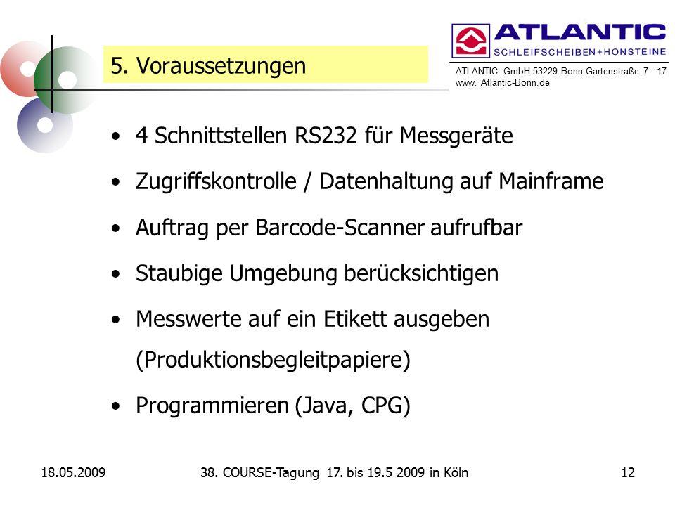 ATLANTIC GmbH 53229 Bonn Gartenstraße 7 - 17 www. Atlantic-Bonn.de 18.05.20091238. COURSE-Tagung 17. bis 19.5 2009 in Köln 5. Voraussetzungen 4 Schnit