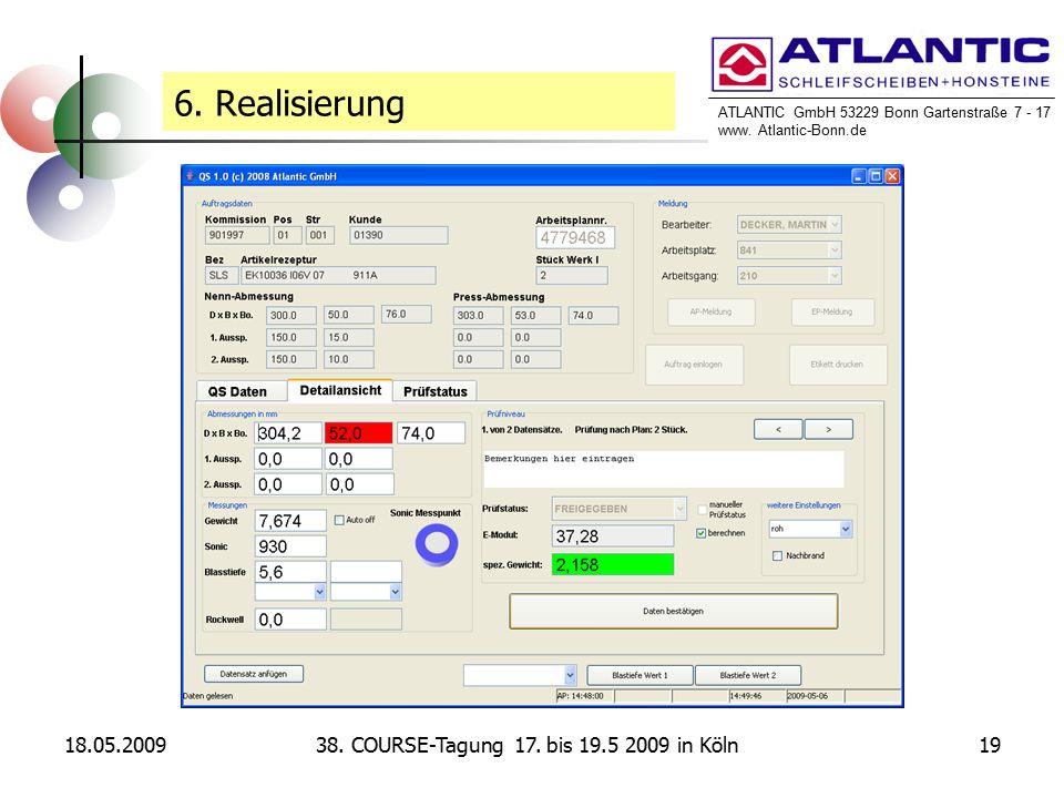 ATLANTIC GmbH 53229 Bonn Gartenstraße 7 - 17 www. Atlantic-Bonn.de 18.05.20091938. COURSE-Tagung 17. bis 19.5 2009 in Köln 6. Realisierung