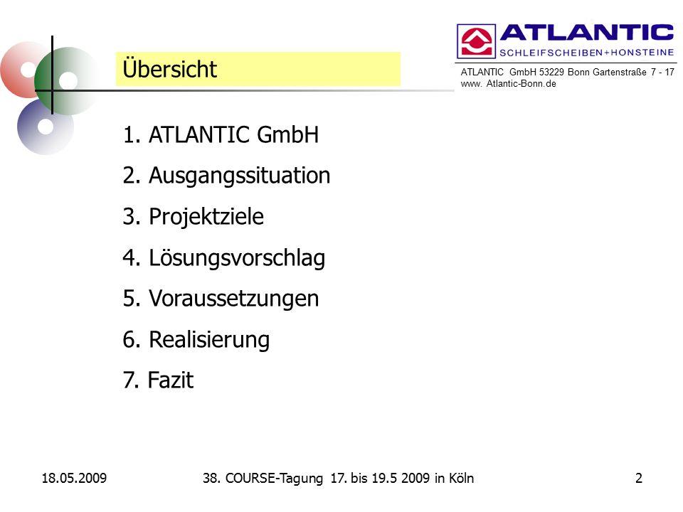 ATLANTIC GmbH 53229 Bonn Gartenstraße 7 - 17 www. Atlantic-Bonn.de 18.05.2009238. COURSE-Tagung 17. bis 19.5 2009 in Köln Übersicht 1. ATLANTIC GmbH 2