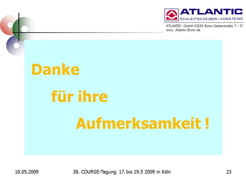 ATLANTIC GmbH 53229 Bonn Gartenstraße 7 - 17 www. Atlantic-Bonn.de 18.05.20092338. COURSE-Tagung 17. bis 19.5 2009 in Köln Danke für ihre Aufmerksamke