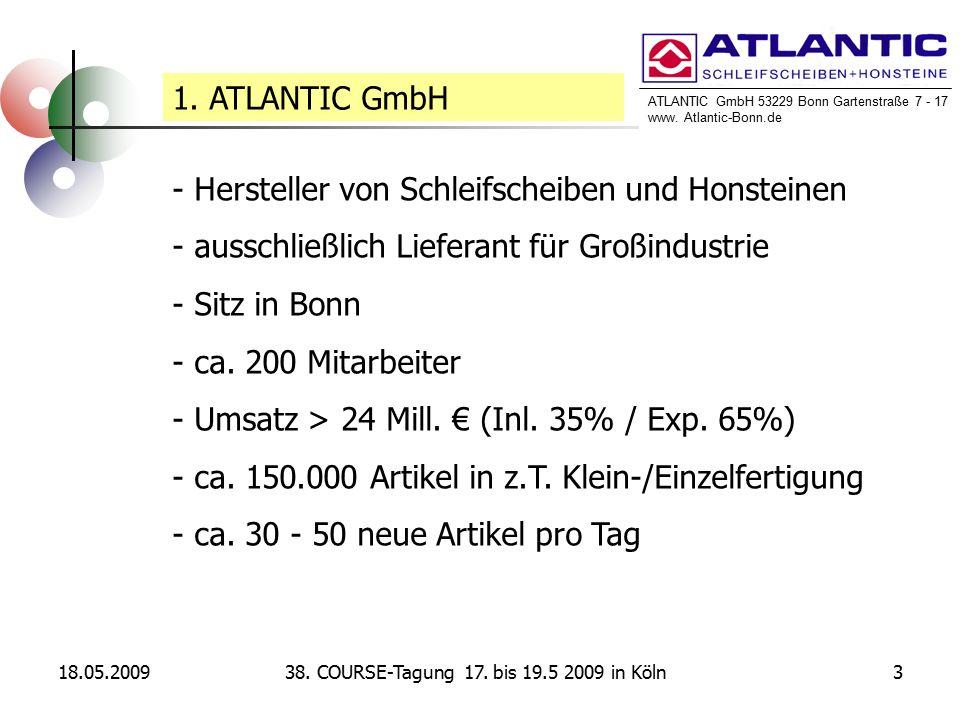 ATLANTIC GmbH 53229 Bonn Gartenstraße 7 - 17 www. Atlantic-Bonn.de 18.05.2009338. COURSE-Tagung 17. bis 19.5 2009 in Köln 1. ATLANTIC GmbH - Herstelle