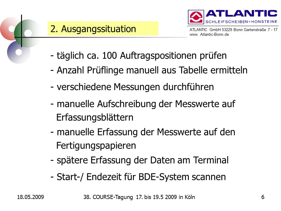 ATLANTIC GmbH 53229 Bonn Gartenstraße 7 - 17 www. Atlantic-Bonn.de 18.05.2009638. COURSE-Tagung 17. bis 19.5 2009 in Köln 2. Ausgangssituation - tägli