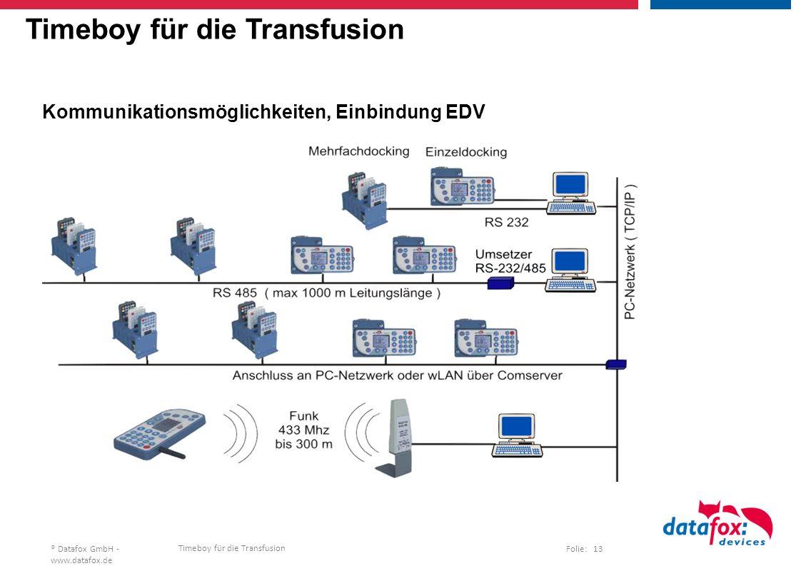 Timeboy für die Transfusion Folie: 13® Datafox GmbH - www.datafox.de Timeboy für die Transfusion Kommunikationsmöglichkeiten, Einbindung EDV