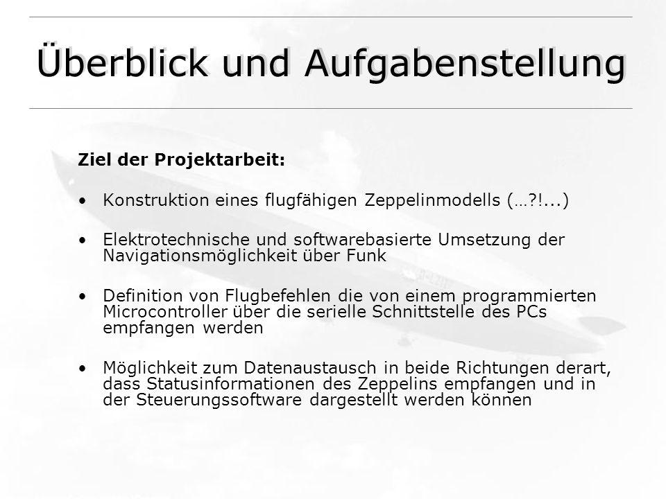 Überblick und Aufgabenstellung Ziel der Projektarbeit: Konstruktion eines flugfähigen Zeppelinmodells (…?!...) Elektrotechnische und softwarebasierte