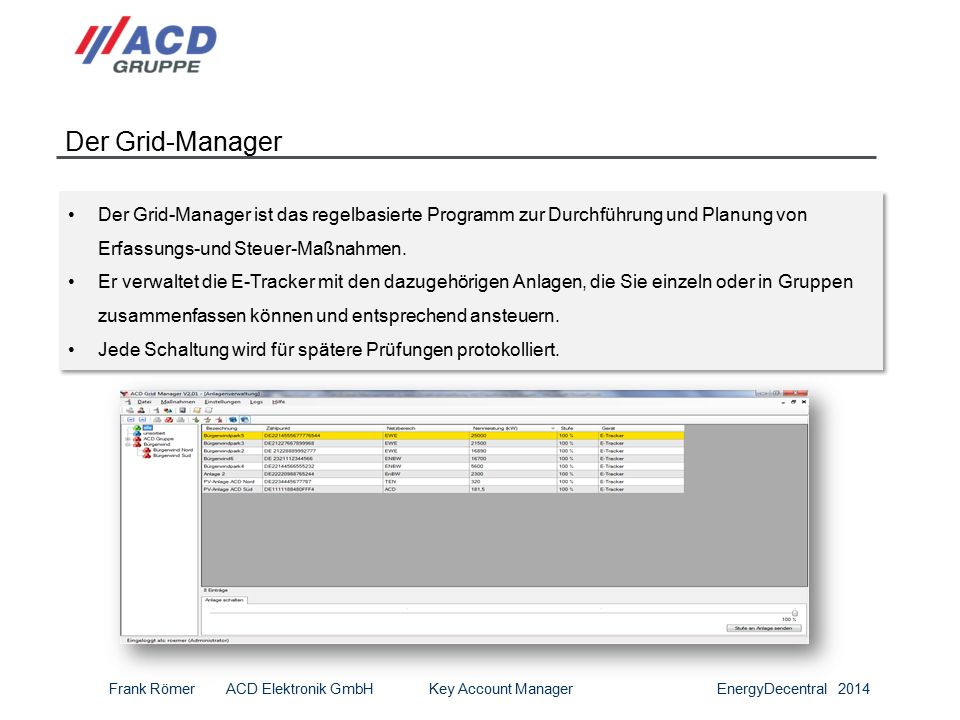 14 Der Grid-Manager Der Grid-Manager ist das regelbasierte Programm zur Durchführung und Planung von Erfassungs-und Steuer-Maßnahmen.