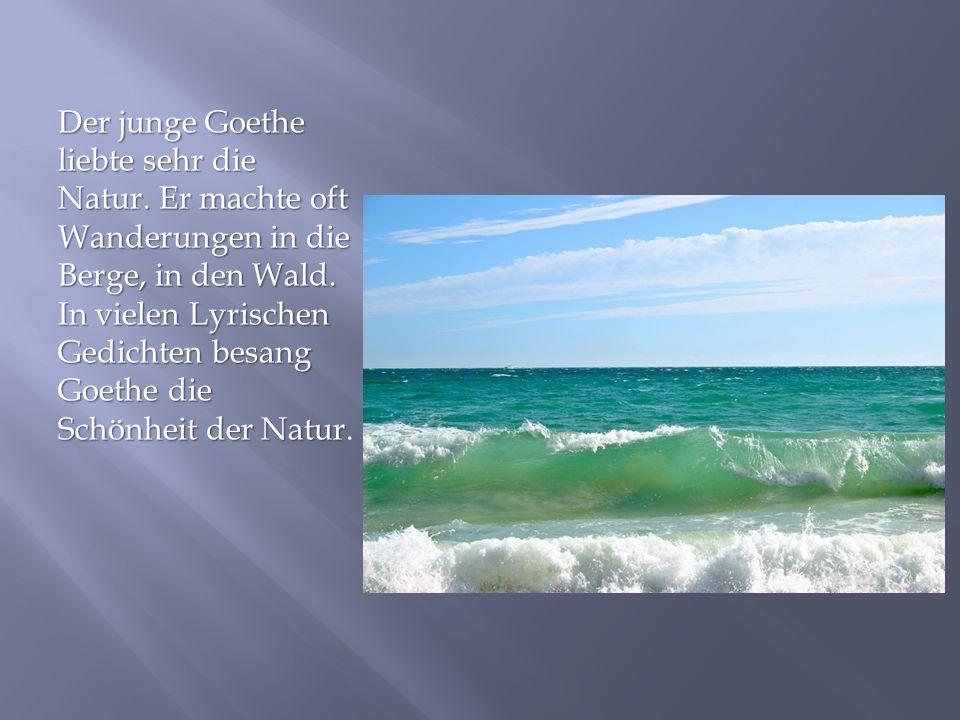 Der junge Goethe liebte sehr die Natur. Er machte oft Wanderungen in die Berge, in den Wald. In vielen Lyrischen Gedichten besang Goethe die Schönheit