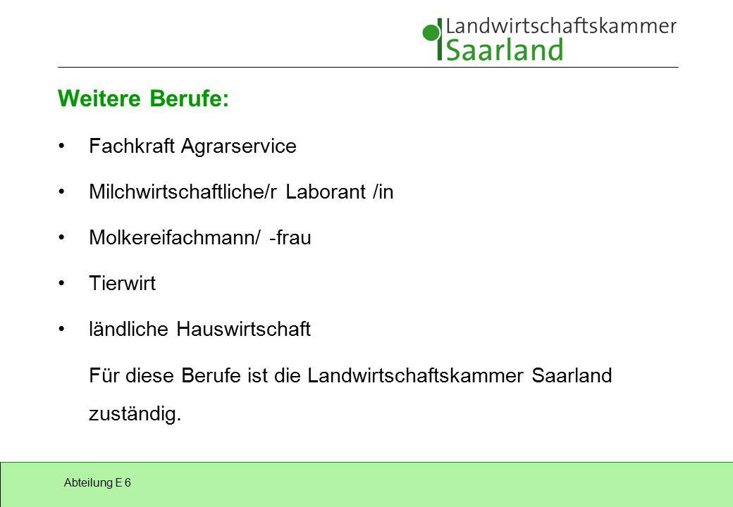 Abteilung E 6 Außerdem: Forstwirt /-in zuständige Stelle: Landwirtschaftskammer für das Saarland Hauswirtschafter/-in zuständige Stelle: Ministerium für Frauen, Arbeit, Gesundheit und Soziales