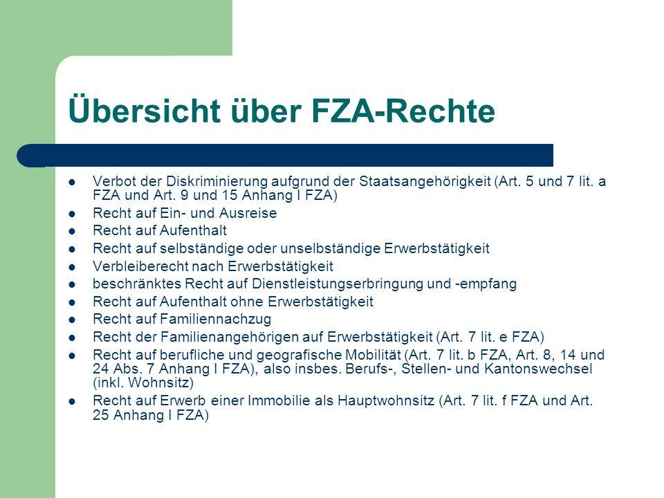 Übersicht über FZA-Rechte Verbot der Diskriminierung aufgrund der Staatsangehörigkeit (Art. 5 und 7 lit. a FZA und Art. 9 und 15 Anhang I FZA) Recht a