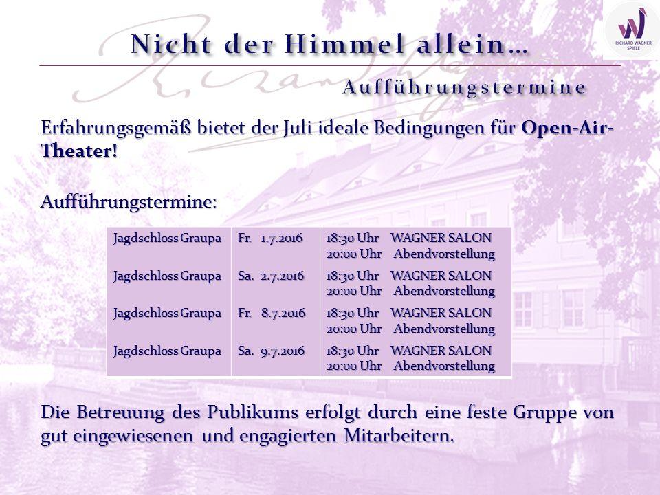 Erfahrungsgemäß bietet der Juli ideale Bedingungen für Open-Air- Theater! Jagdschloss Graupa Fr. 1.7.2016 Sa. 2.7.2016 Fr. 8.7.2016 Sa. 9.7.2016 18:30