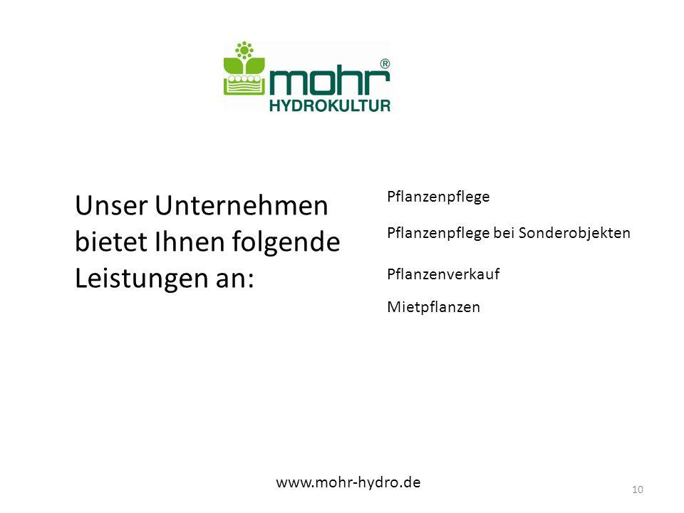 Unser Unternehmen bietet Ihnen folgende Leistungen an: www.mohr-hydro.de 10 Pflanzenpflege Pflanzenpflege bei Sonderobjekten Pflanzenverkauf Mietpflanzen