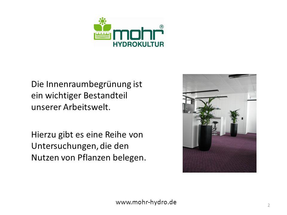 Pflege von Pflanzen bei Sonderobjekten erfordert viel Kompetenz www.mohr-hydro.de 13 - die Gärtner werden zusätzlich von Gartenbauingenieuren unterstützt und beraten.