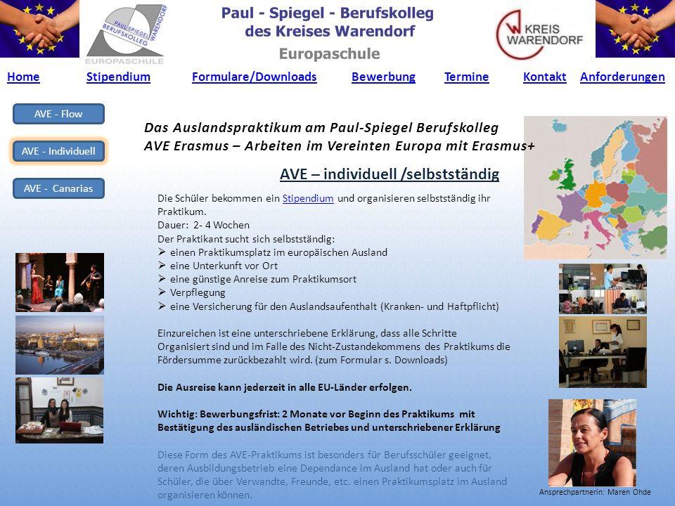 AVE - Flow AVE - Individuell AVE - Canarias Das Auslandspraktikum am Paul-Spiegel Berufskolleg AVE Erasmus – Arbeiten im Vereinten Europa mit Erasmus+ AVE – Canarias / organisiert (EU- Team+Partner).