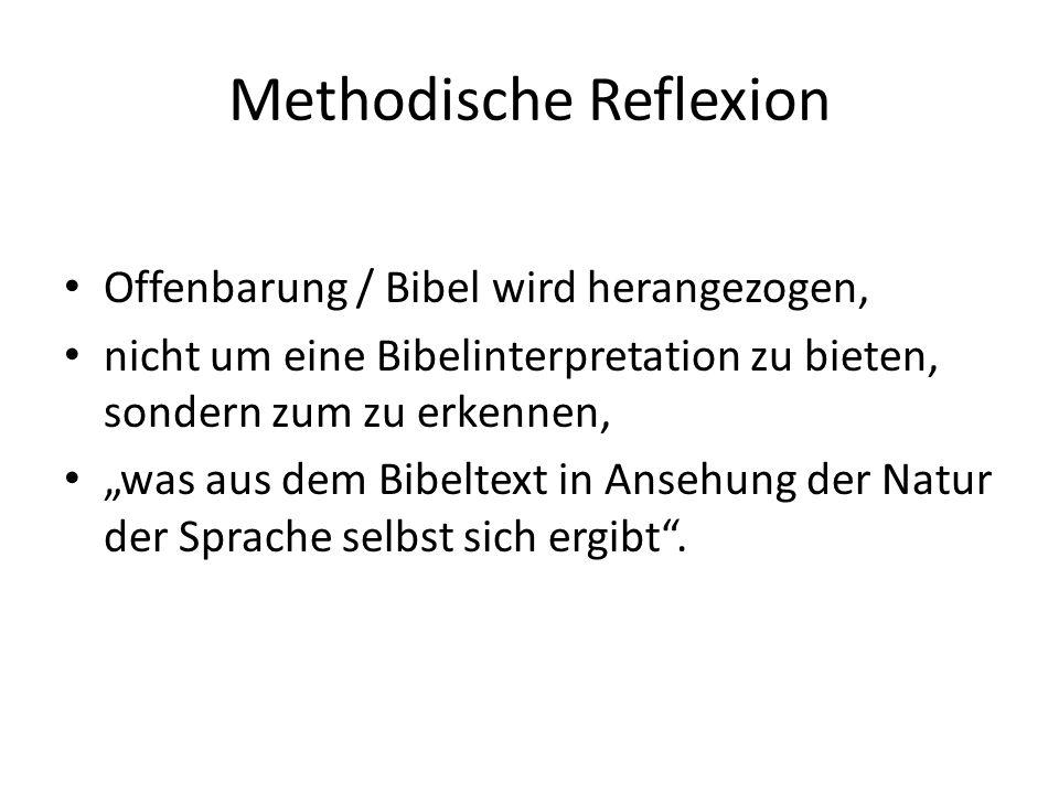 """Methodische Reflexion Offenbarung / Bibel wird herangezogen, nicht um eine Bibelinterpretation zu bieten, sondern zum zu erkennen, """"was aus dem Bibeltext in Ansehung der Natur der Sprache selbst sich ergibt ."""