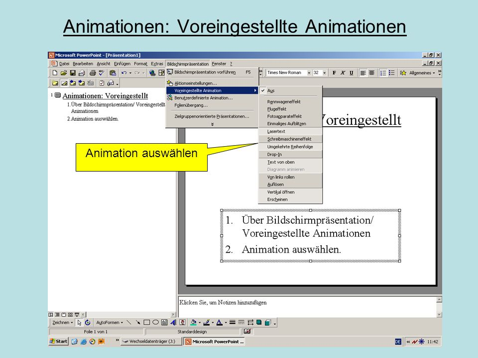 Voreingestellte AnimationBenutzerdefinierte Animation Die benutzerdefinierten und voreingestellten Animationseffekte unterscheiden sich nur gering von