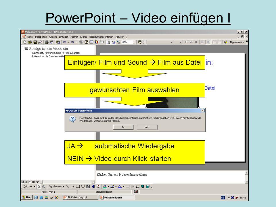Es gibt zwei Möglichkeiten ein Video in PowerPoint einzufügen: 1.Über Einfügen/ Film & Sound 2.Über Einfügen/ Objekt Einfügen/ Objekt:Einfügen/ Film &