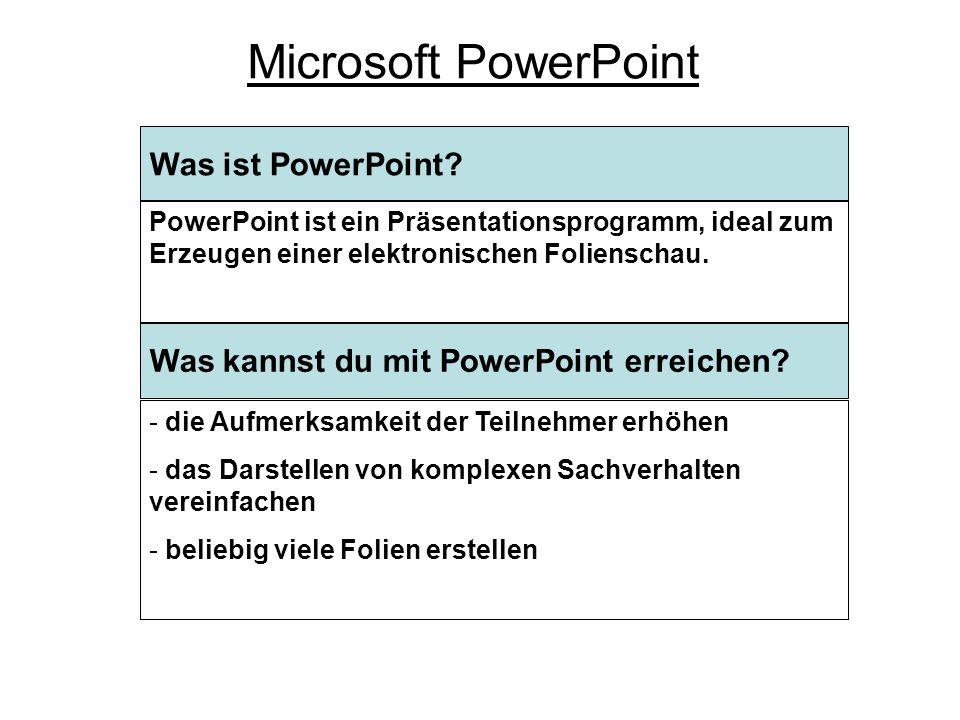 Was ist PowerPoint.Microsoft PowerPoint Was kannst du mit PowerPoint erreichen.
