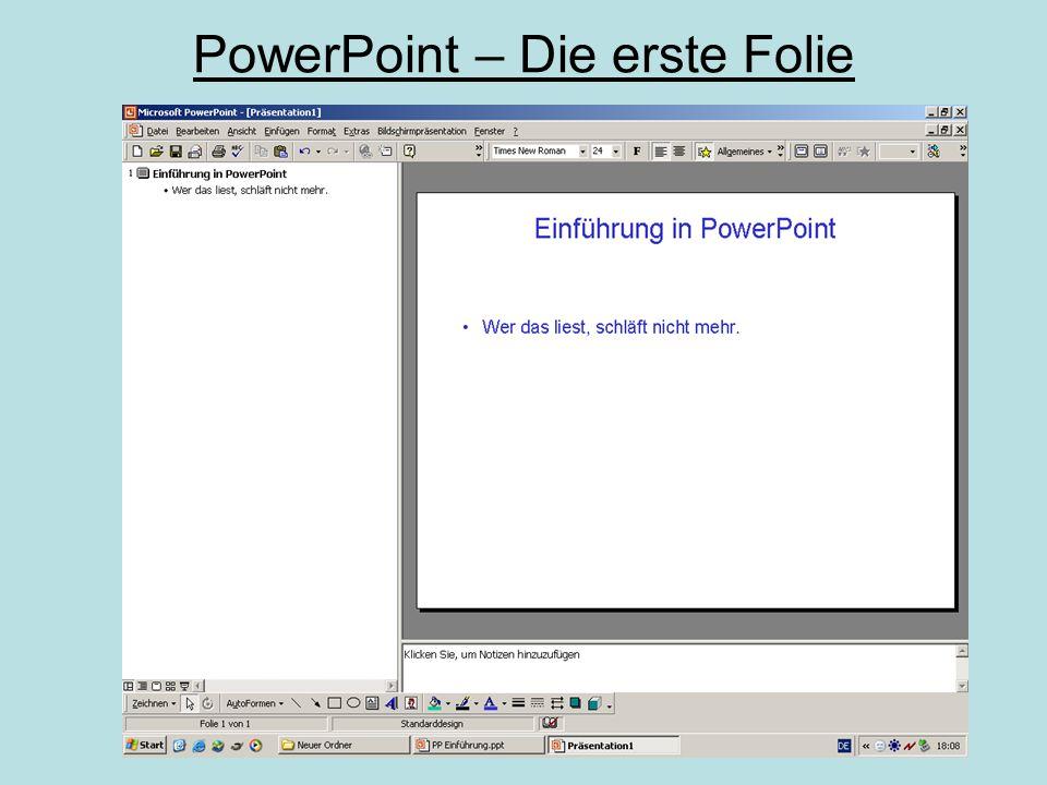 PowerPoint – Video einfügen I JA  automatische Wiedergabe NEIN  Video durch Klick starten Einfügen/ Film und Sound  Film aus Datei gewünschten Film auswählen