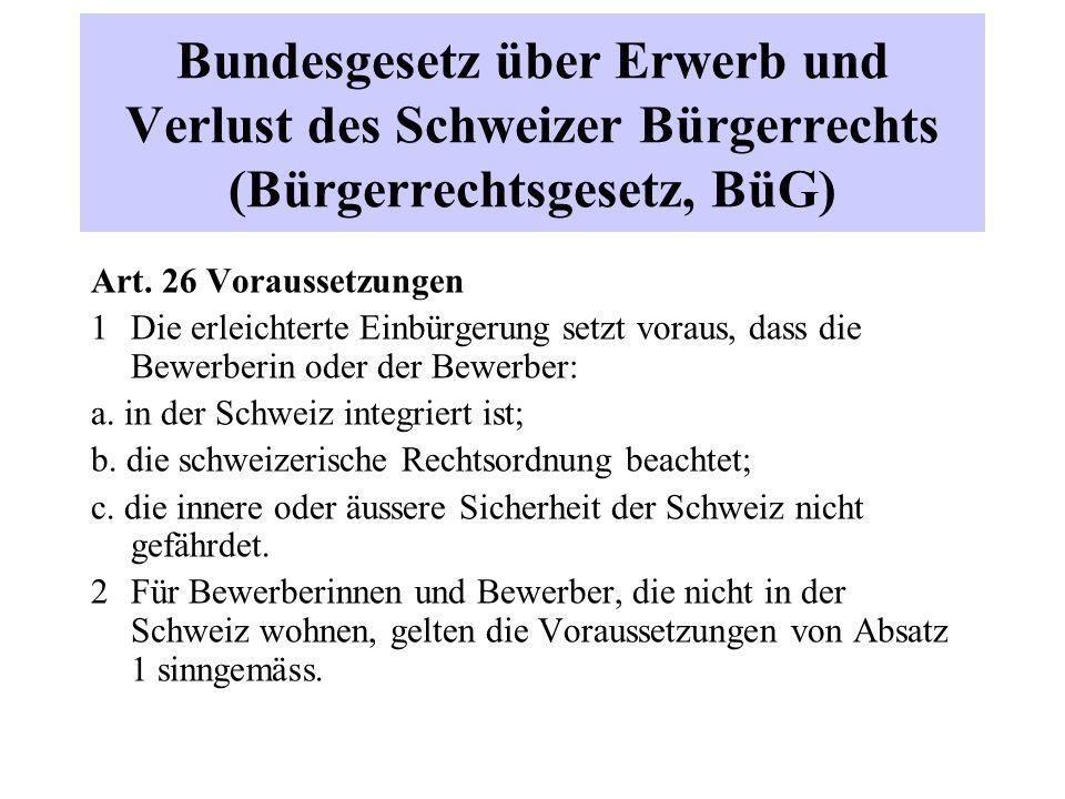 Bundesgesetz über Erwerb und Verlust des Schweizer Bürgerrechts (Bürgerrechtsgesetz, BüG) Art.
