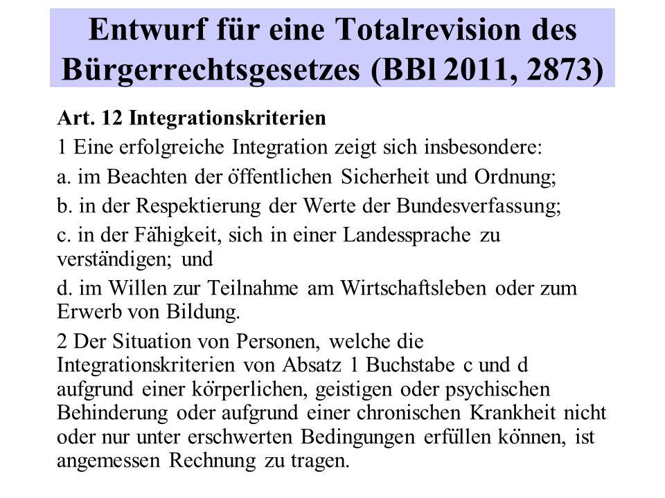 Entwurf für eine Totalrevision des Bürgerrechtsgesetzes (BBl 2011, 2873) Art.