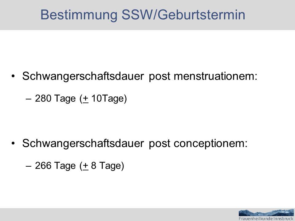 Bestimmung SSW/Geburtstermin Schwangerschaftsdauer post menstruationem: –280 Tage (+ 10Tage) Schwangerschaftsdauer post conceptionem: –266 Tage (+ 8 Tage)