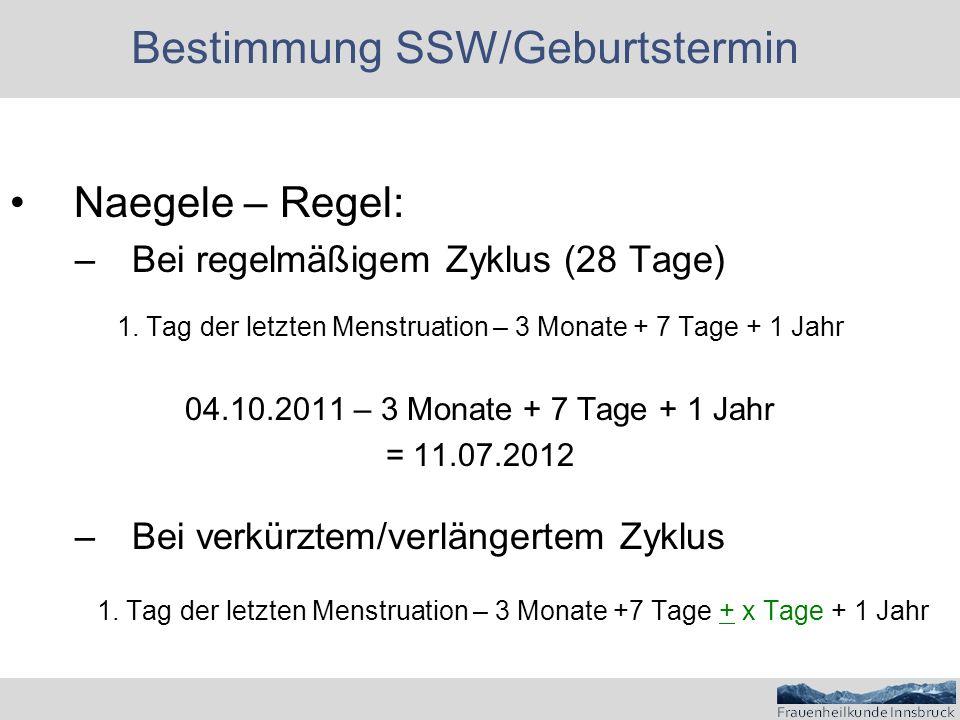Bestimmung SSW/Geburtstermin Naegele – Regel: –Bei regelmäßigem Zyklus (28 Tage) 1.
