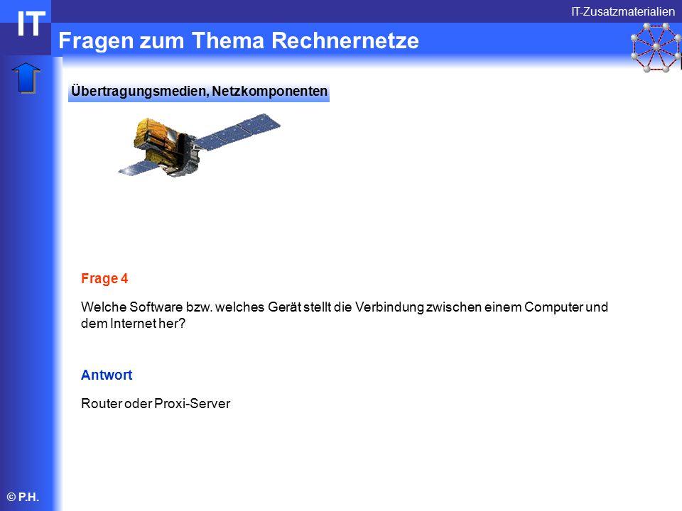 © P.H. Fragen zum Thema Rechnernetze IT-Zusatzmaterialien IT Frage 4 Welche Software bzw.