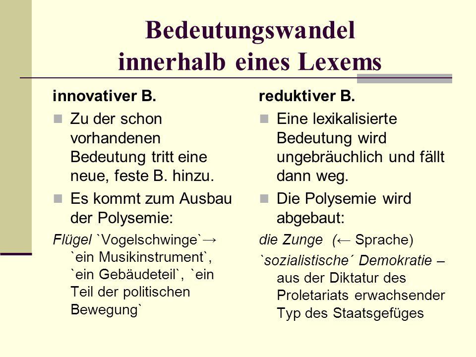 Bedeutungswandel innerhalb eines Lexems innovativer B.