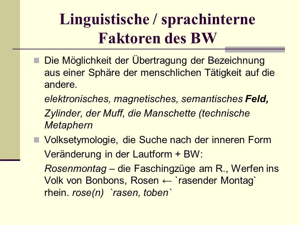 Linguistische / sprachinterne Faktoren des BW Die Möglichkeit der Übertragung der Bezeichnung aus einer Sphäre der menschlichen Tätigkeit auf die andere.