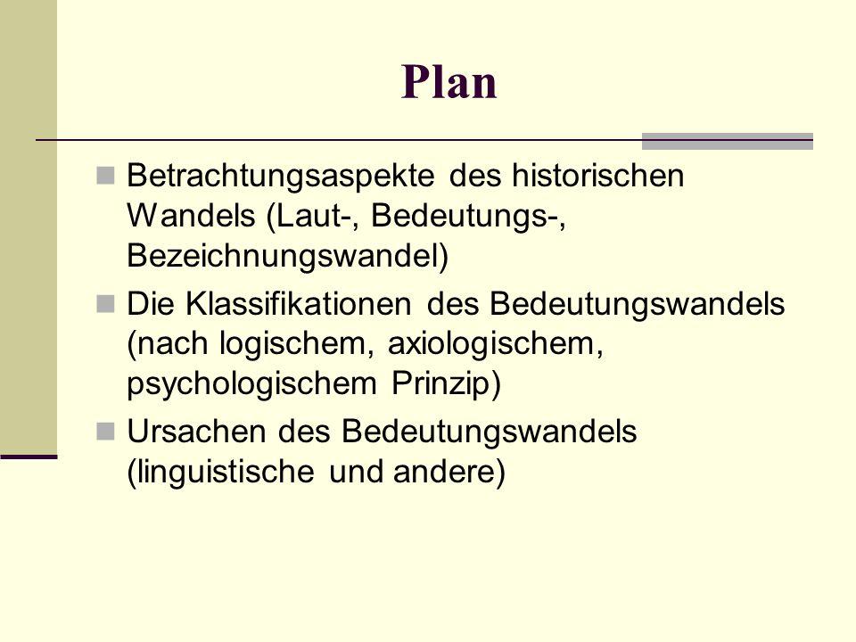 Plan Betrachtungsaspekte des historischen Wandels (Laut-, Bedeutungs-, Bezeichnungswandel) Die Klassifikationen des Bedeutungswandels (nach logischem, axiologischem, psychologischem Prinzip) Ursachen des Bedeutungswandels (linguistische und andere)