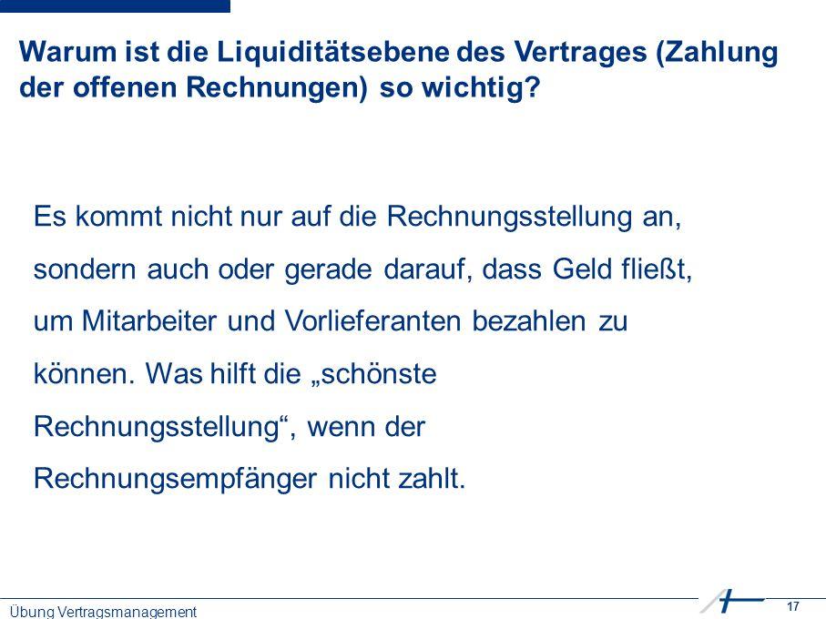 17 Warum ist die Liquiditätsebene des Vertrages (Zahlung der offenen Rechnungen) so wichtig.