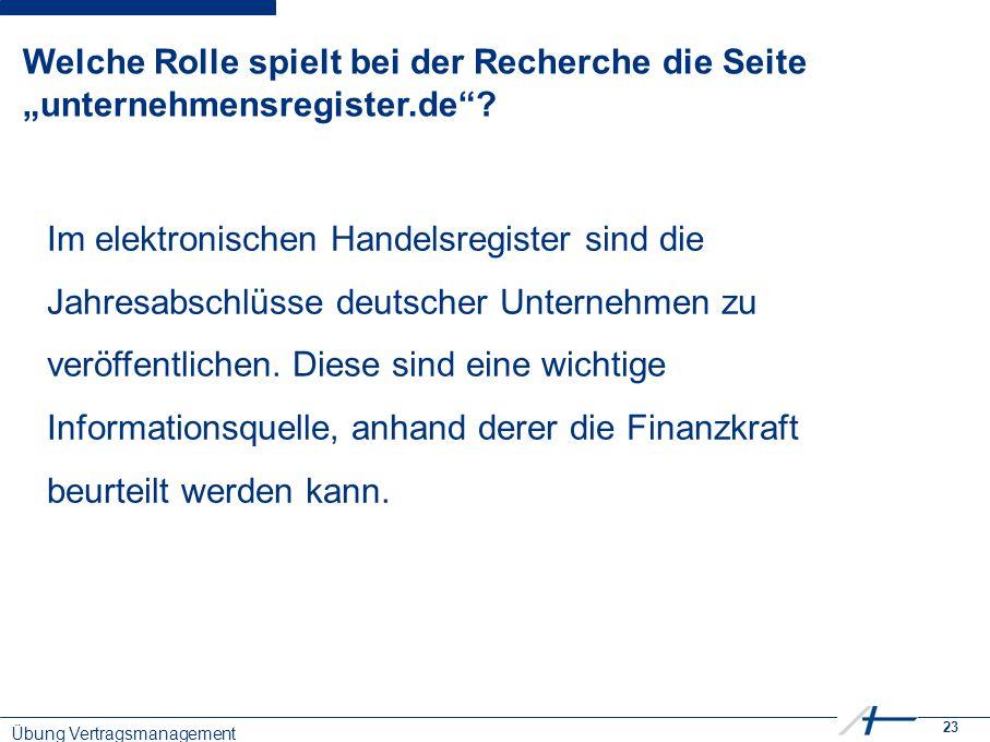 """23 Welche Rolle spielt bei der Recherche die Seite """"unternehmensregister.de ."""