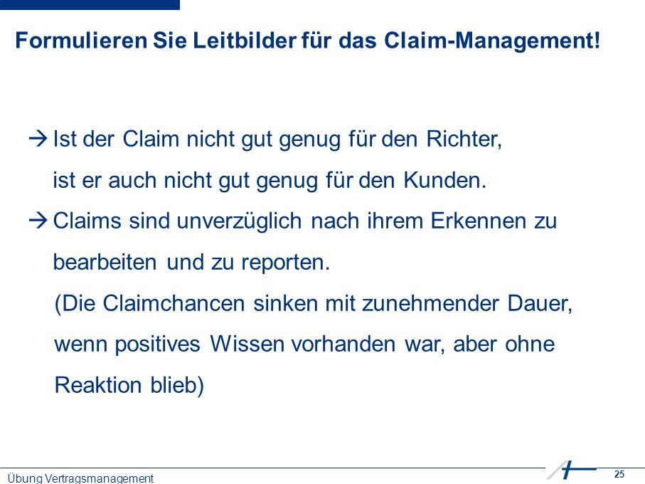 25 Formulieren Sie Leitbilder für das Claim-Management.