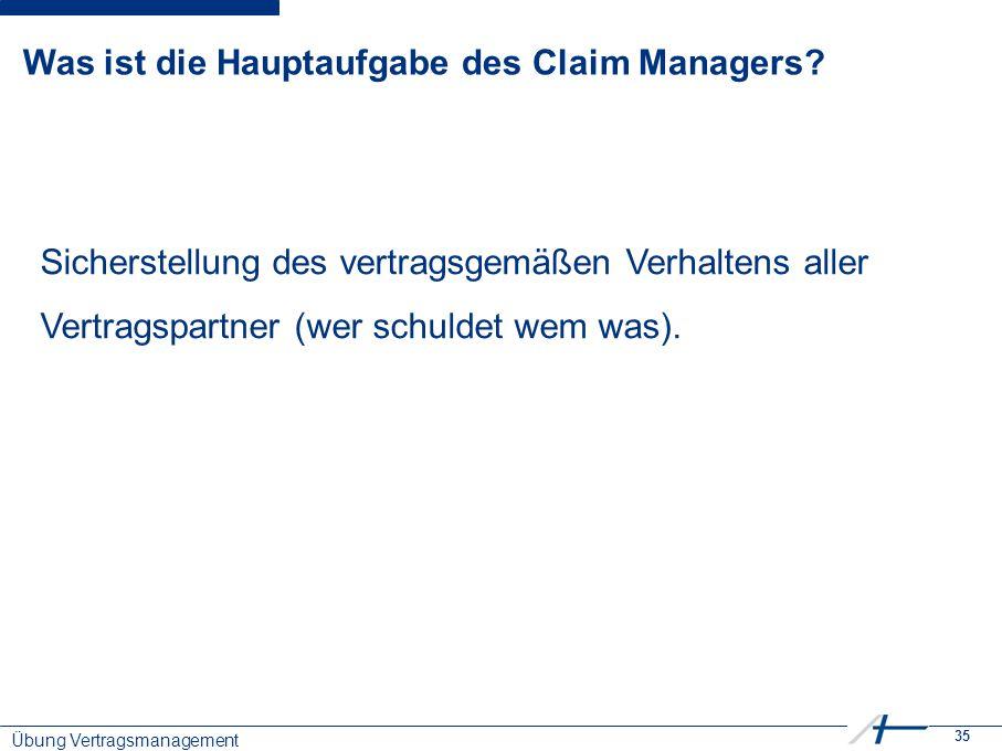 35 Was ist die Hauptaufgabe des Claim Managers.