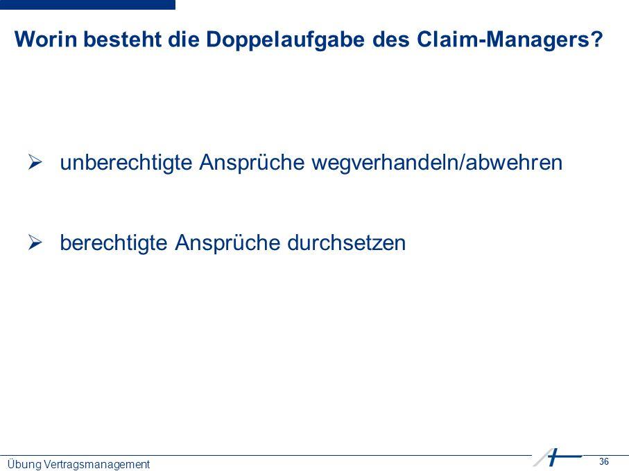 36 Worin besteht die Doppelaufgabe des Claim-Managers.