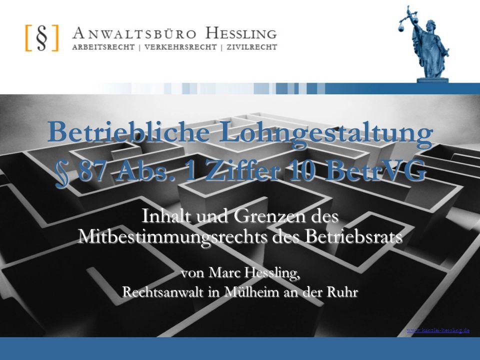 17.11.2007Marc Hessling, Rechtsanwalt21 Einigungsstelle Jede Betriebspartei kann im Falle der Nichteinigung die Einigungsstelle anrufen.