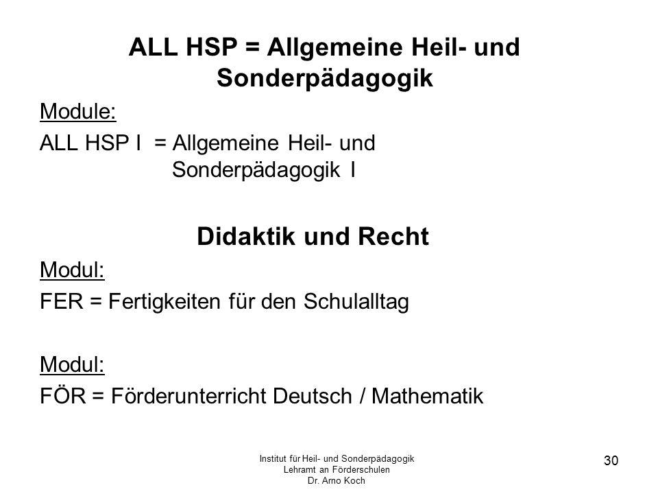 Institut für Heil- und Sonderpädagogik Lehramt an Förderschulen Dr.