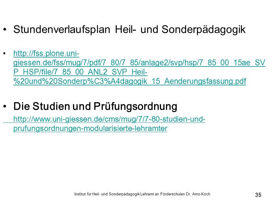 Stundenverlaufsplan Heil- und Sonderpädagogik http://fss.plone.uni- giessen.de/fss/mug/7/pdf/7_80/7_85/anlage2/svp/hsp/7_85_00_15ae_SV P_HSP/file/7_85_00_ANL2_SVP_Heil- %20und%20Sonderp%C3%A4dagogik_15_Aenderungsfassung.pdfhttp://fss.plone.uni- giessen.de/fss/mug/7/pdf/7_80/7_85/anlage2/svp/hsp/7_85_00_15ae_SV P_HSP/file/7_85_00_ANL2_SVP_Heil- %20und%20Sonderp%C3%A4dagogik_15_Aenderungsfassung.pdf Die Studien und Prüfungsordnung http://www.uni-giessen.de/cms/mug/7/7-80-studien-und- prufungsordnungen-modularisierte-lehramter Institut für Heil- und Sonderpädagogik Lehramt an Förderschulen Dr.