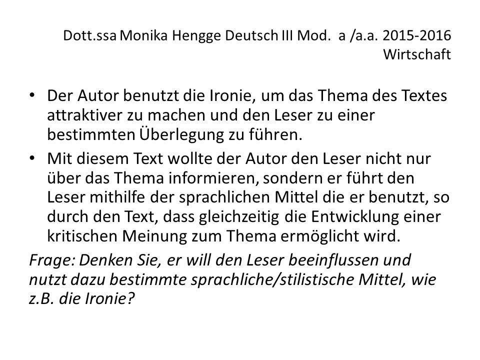 Dott.ssa Monika Hengge Deutsch III Mod.a /a.a.