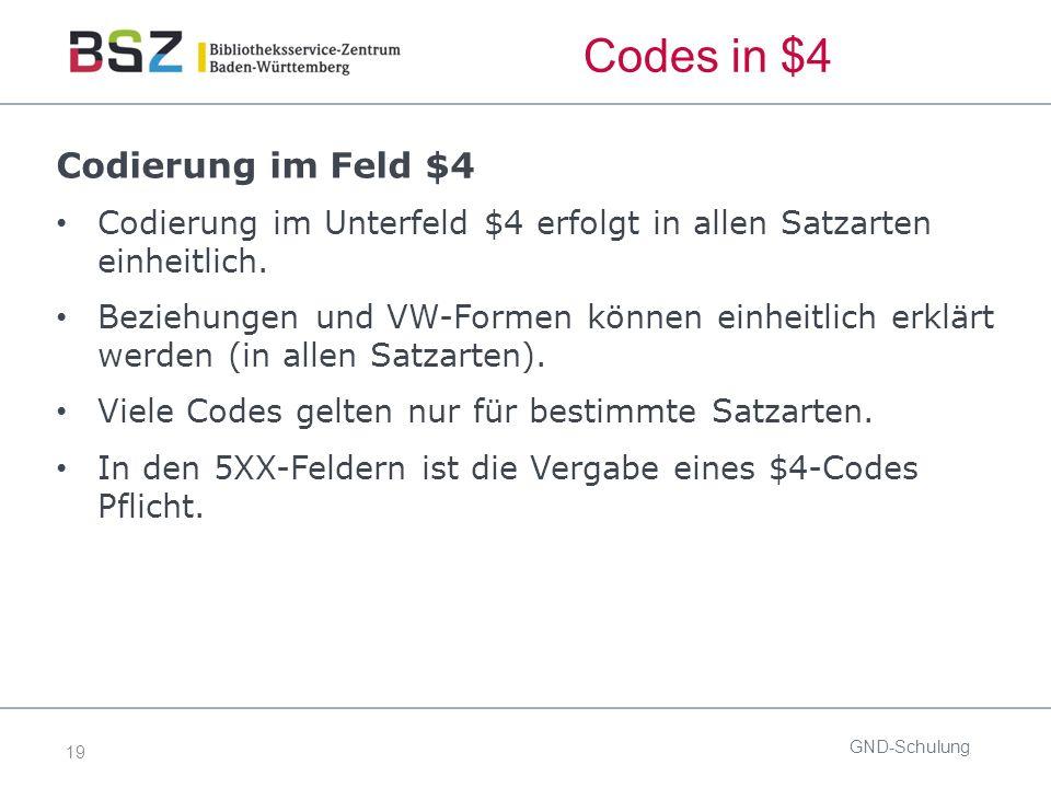 19 Codes in $4 Codierung im Feld $4 Codierung im Unterfeld $4 erfolgt in allen Satzarten einheitlich.