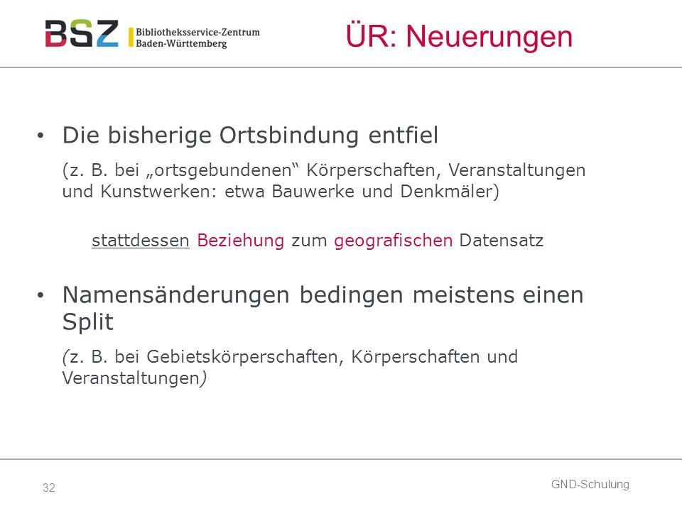 32 GND-Schulung Die bisherige Ortsbindung entfiel (z.