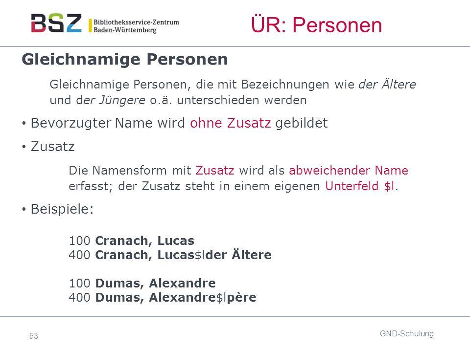 53 ÜR: Personen GND-Schulung Gleichnamige Personen Gleichnamige Personen, die mit Bezeichnungen wie der Ältere und der Jüngere o.ä.