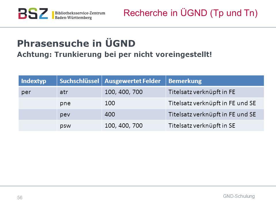 56 Recherche in ÜGND (Tp und Tn) Phrasensuche in ÜGND Achtung: Trunkierung bei per nicht voreingestellt.